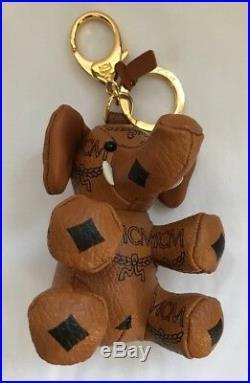 MCM Elephant Bag Charm Key Chain MCM Signature Cognac Visetos