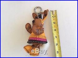 MCM Visetos Cognac Canvas Large Rabbit Bag Charm/KeyHolder 5.5 NEW W BOX BAG&tag