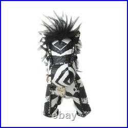 MCM Zebra key chain Leather x faux fur Black White blue Used