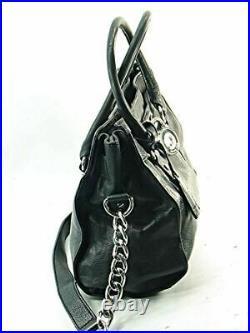 MICHAEL KORS Black HAMILTON Lock & Key Silver Chain Tote Satchel Handbag