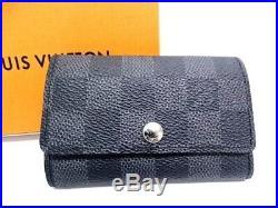 MNT Auth LOUIS VUITTON Key Holder Case Multicles 6 Damier Black 40150803100 P