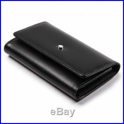 MONTBLANC-Key-Chain-Holder-Wallet-7161-Black-Color-6-Chain-Inside-Genuine