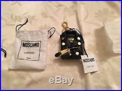 MOSCHINO Jeremy Scott Black Biker Jacket Leather Keychain Key Ring KeyHolder