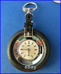 Marvin Car Tire Nos Key Chain Stainless Mechanical Wind 17j 1960's Men's Watch