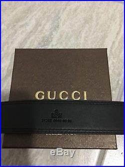 Men Gucci Black Leather Belt Fits 36-40 Waists
