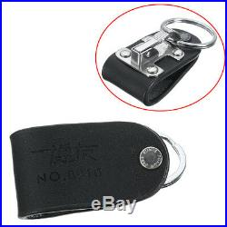 Men's Stainless Belt Clip Ring Holder Keyring Black Leather Detachable Key Chain