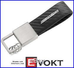 Mercedes AMG Key Ring Leather Carbon Optic Black Genuine New Best Gift