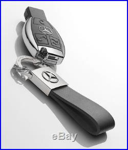 Mercedes-Benz Keyring Key Rings Black Leather Seattle B66952636 Genuine New