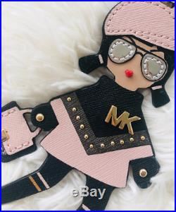 Michael Kors Girl Keychain Key Fob Bag Charm Pink Black Valentines gift