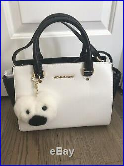 Michael Kors Selma Medium Satchel Handbag Black White Leather w Fur Pom Keychain