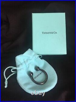 Mint Tiffany & Co Titanium Black Key Chain Key Ring withOriginal Box & Pouch