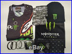 Monster Energy Drink Shirt Hat Key Chain Pin Scarf Wrist Sweatband Paraphernalia