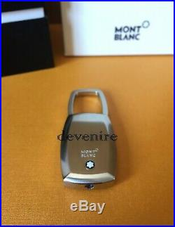 Montblanc Mens Black Stainless Steel Rubber Key Ring Key Chain 102994 NEW