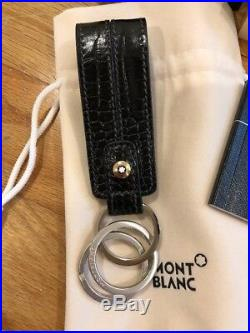Montblanc Onyx Black Leather Key Fob Chain La Vie De Boheme 107694 NEW