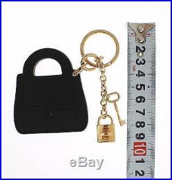 NEW $280 DOLCE & GABBANA Black Leather Miss BONITA Gold Finder Chain Keyring