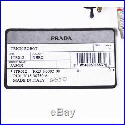 NEW $330 PRADA Black ROBOT JASON Saffino Leather METAL Keyring Trick BAG CHARM