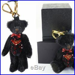 NEW $390 PRADA Black Red SWAROVSKI CRYSTAL LOGO Bag Keyring Trick BEAR CHARM NIB