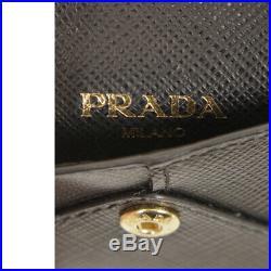NEW $550 PRADA Black ROBOT Saffiano Leather METAL MIRROR KEYRING Trick BAG CHARM