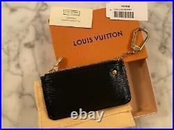 NEW Auth LOUIS VUITTON Pochette Cles Black Epi Poudre Key Coin LV clefs Creme
