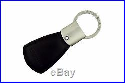 NEW+BOX Montblanc Diaries & Notes Triangle Black Leather Key Fob Keyring 101783