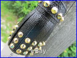 NEW BURBERRY key chain ITALY studs Milton black gold tassels $425 dust bag charm