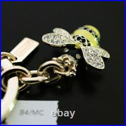 NEW COACH 3D Pave Crystal Queen Bubble Bee Crown Keychain Key ring FOB NWT