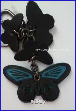 NEW COACH Clustered Butterfly Black/Green/Blue/Tan Charm/Keychain/Fob 54997
