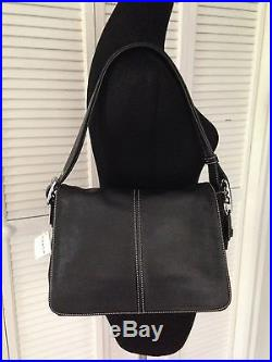 NEW Coach Black Leather Sling Flap Crossbody Shoulder & Picture Frame Key Chain