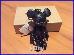 NEW Disney x Coach LE Mickey Mouse Black Plush Leather Tag Hangtag Keychain