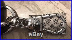 NEW GUCCI Interlocking GG Studded Black LEATHER Key Ring ChAIN Bag & Box Includ