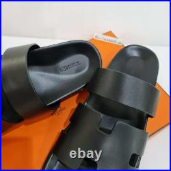 NEW HERMES Ankara Leather Chypre Sandal Flat Size 43 Black Color Shipped by DHL