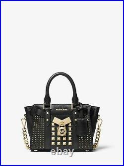 NEW Michael Kors Nouveau Hamilton X Small Black Studded Leather Lock & Key Purse