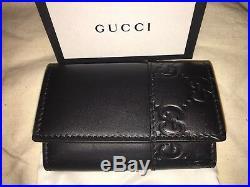 NEW! NIB GUCCI Leather Folding GG Key Case in Black #256433