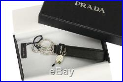 NEW PRADA BLACK SAFFIANO LEATHER LOGO TENNIS CHARM KEY CHAIN RING HOLDER WithBOX