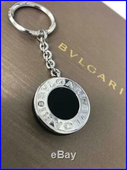 NEW Round BVLGARI Sterling Silver Keyholder Keyring Black Rubber Keychain 34891