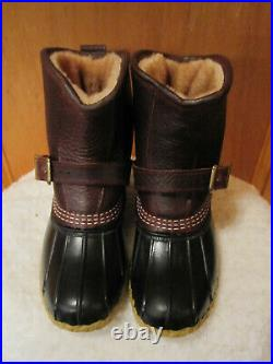 NEW Womens LL BEAN Lounger Boots Shearling Lined Duck Buckle FREE KEY CHAIN 6M
