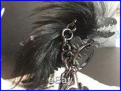 NIB Coach Limited Edition Long Hair Mohawk Leather Puzzle Black Rexy Bag Charm