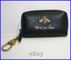 NIB Gucci Blind for Love Leather Bee Coin Purse Key Chain Coin Case 498096
