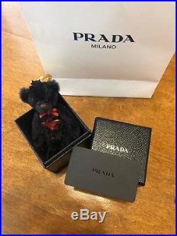 NIB PRADA Swarovski Crystal Black Teddy Bear Key Chain charm $380+Retailed