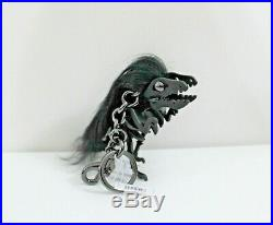 NWT$175 COACH Punk REXY Dinosaur Long Mohawk Black Leather Bag Charm Key Ring