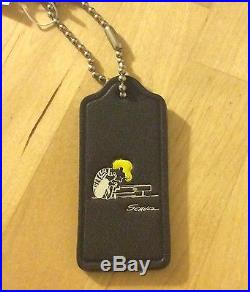 NWT 1st Edition COACH X Peanuts Snoopy SCHROEDER Leather Hangtag Key Fob