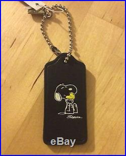 NWT 1st Edition COACH X Peanuts Snoopy Woodstock Leather Hangtag Key Ring Fob