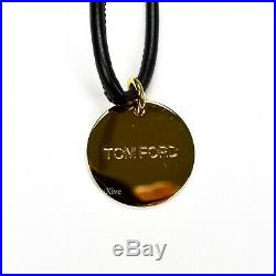 NWT $390 TOM FORD Men's Gold TF Logo Charm Black Leather Keychain Ring AUTHENTIC