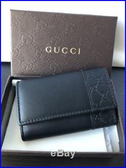 NWT AUTHENTIC GUCCI GG Guccisimma Unisex Leather Key Holder Case In Black