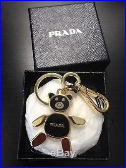 NWT AUTHENTIC Prada Black / Gold Bear Key Chain Made In Italy
