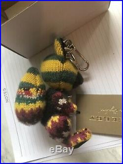 NWT Auth Burberry LS Dave Fox Charm Cashmere Green Black Key Chain $395
