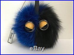 NWT Authentic Fendi Monster Eyes Black Blue Fox Fur Bag Bug Charm Keychain $700
