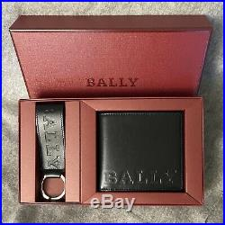 NWT BALLY Logo Imprinted Bifold Wallet and Key Chain Gift Set Black Calf Leather