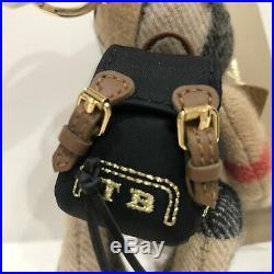 NWT Burberry Thomas Rucksack Backpack Cashmere Keychain Key Ring Bag Charm