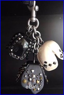 NWT COACH 1941 STUDDED tea rose bag charm 87055 black white key-fob